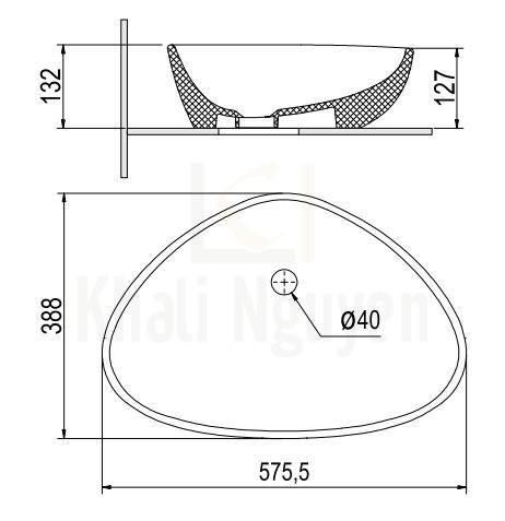 Bản Vẽ Chậu Rửa Lavabo Viglacera Platinum P.23.321 Đặt Bàn