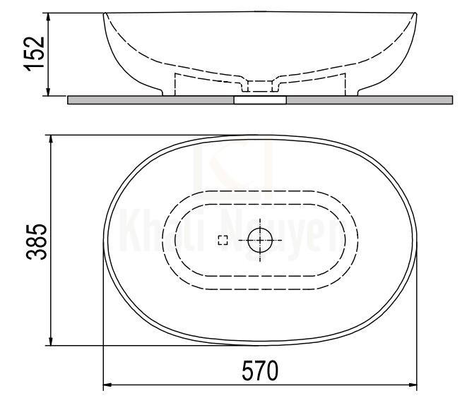 Bản Vẽ Lavabo Viglacera Platinum P.23.350 Đặt Bàn