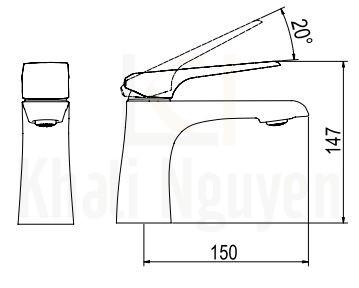 Bản vẽ Vòi Lavabo Viglacera Platinum P.51.356 Nóng Lạnh