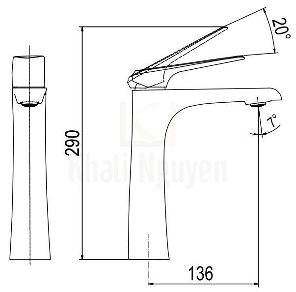 Bản Vẽ Vòi Lavabo Viglacera Platinum P.52.356 Nóng Lạnh Thân Cao