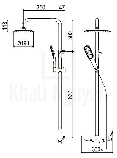Bản Vẽ Sen Cây Viglacera Platinum P.57.350 Nóng Lạnh