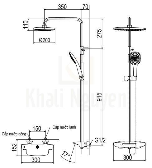 Bản vẽ Sen Cây Viglacera Platinum P.58.320 Nhiệt Độ