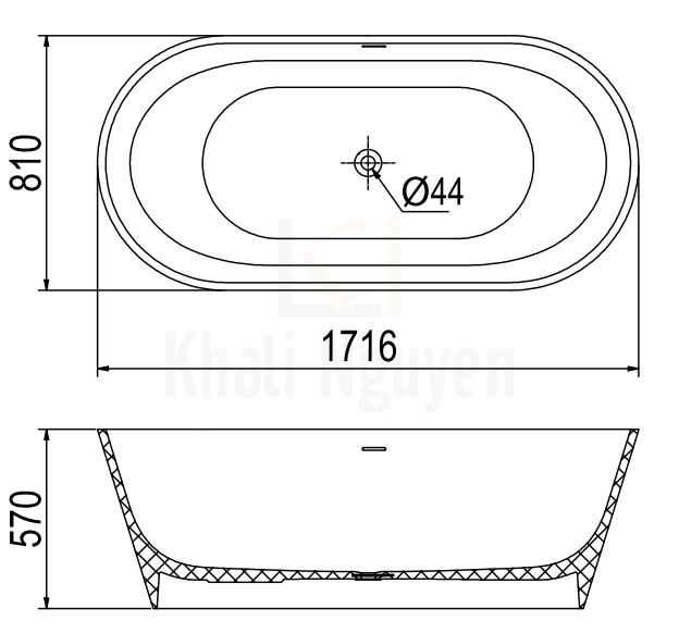 Bản Vẽ Bồn Tắm Đá Viglacera Platinum P.61.320 Lập Thể