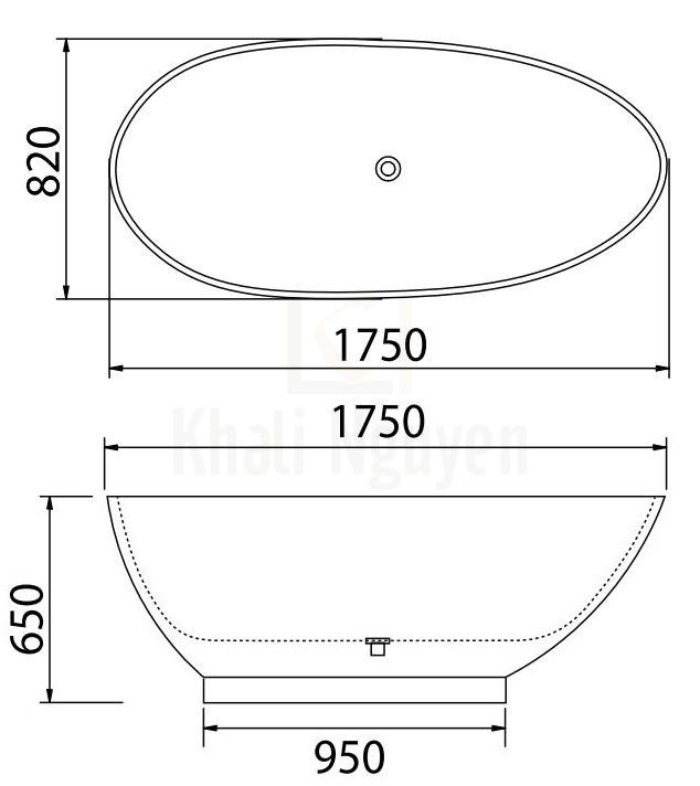 Bản Vẽ Bồn Tắm Đá Viglacera Platinum P.61.350
