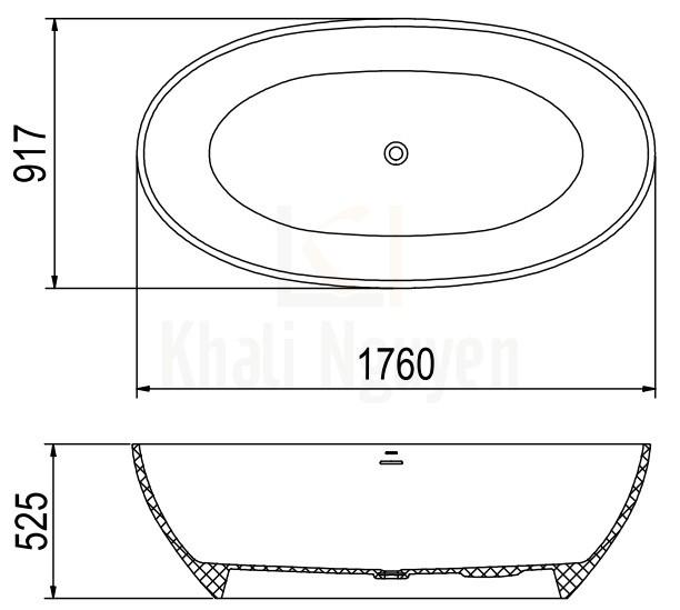 Bản Vẽ Bồn Tắm Đá Viglacera Platinum P.61.356 Lập Thể