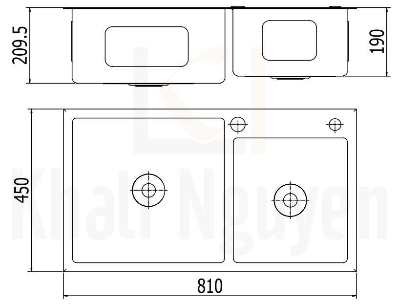 Bản Vẽ Chậu Bếp Inox Viglacera Platinum P.63.320 2 Hộc