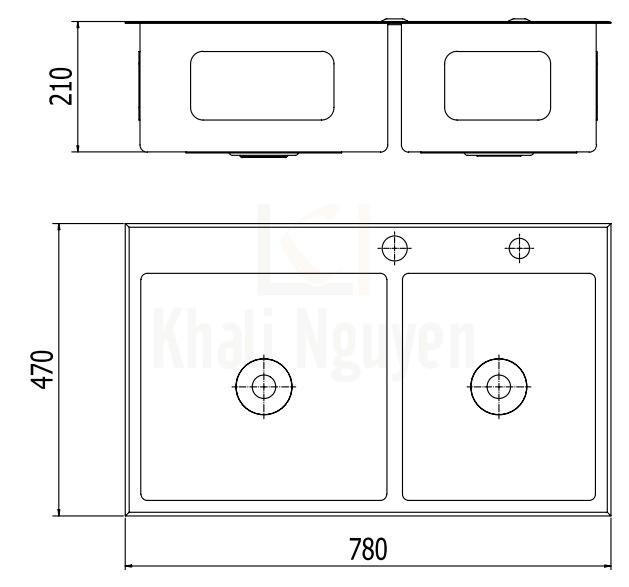 Bản Vẽ Chậu Bếp Inox Viglacera Platinum P.63.350